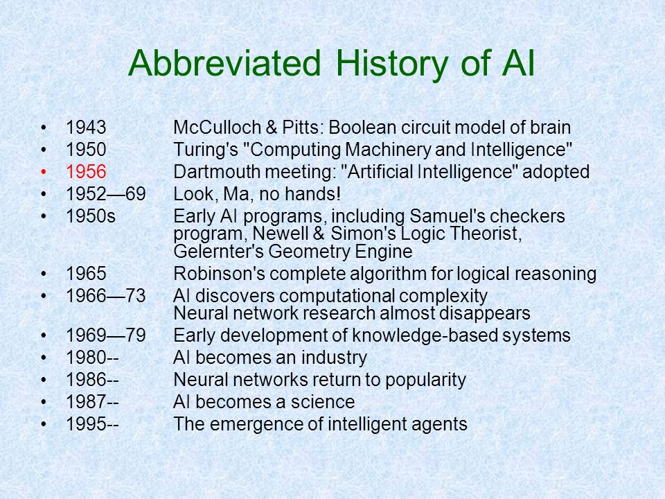 Abbreviated History of AI
