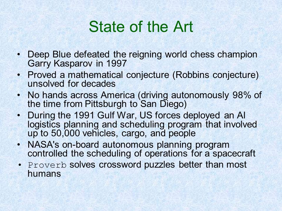 State of the Art Deep Blue defeated the reigning world chess champion Garry Kasparov in 1997.