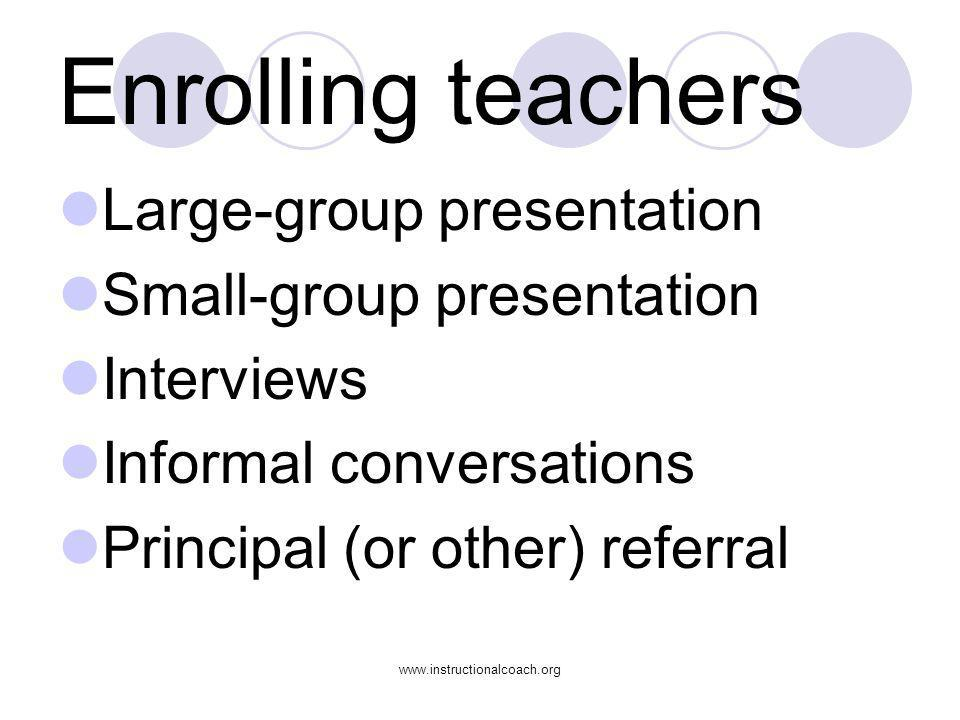 Enrolling teachers Large-group presentation Small-group presentation