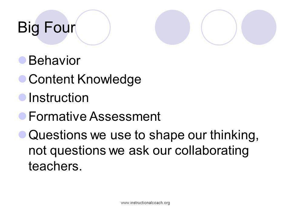 Big Four Behavior Content Knowledge Instruction Formative Assessment