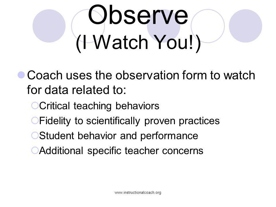 Observe (I Watch You!) Coach uses the observation form to watch for data related to: Critical teaching behaviors.