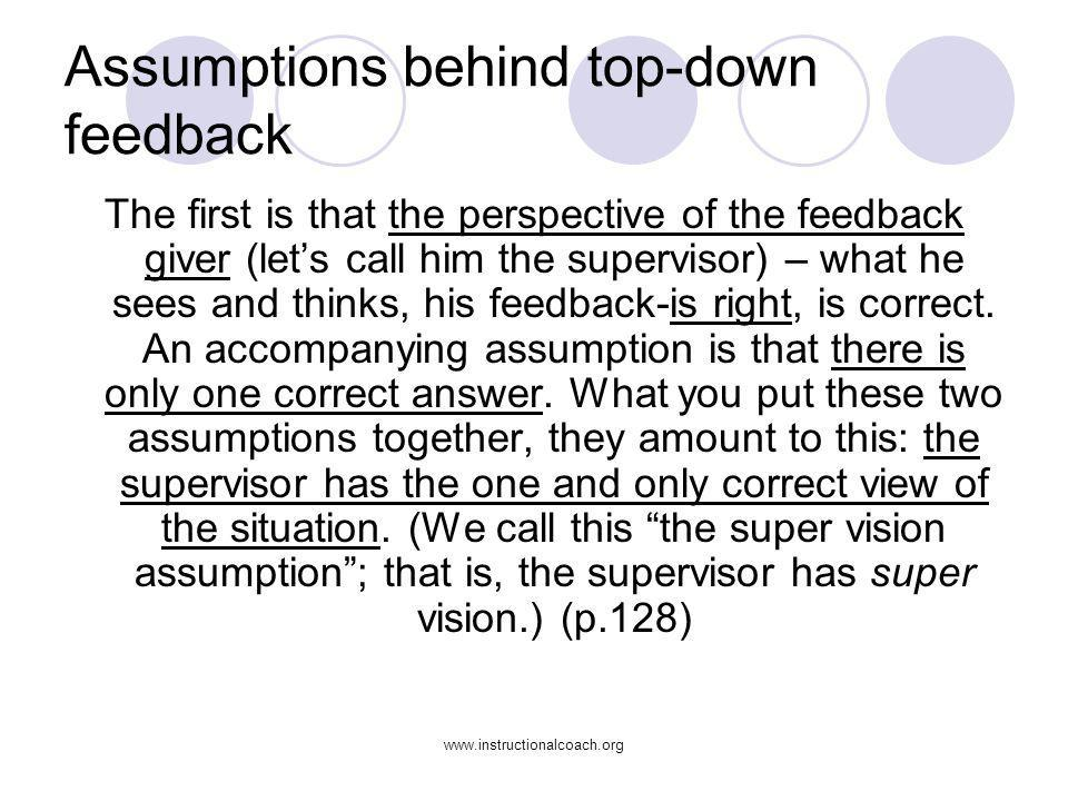 Assumptions behind top-down feedback