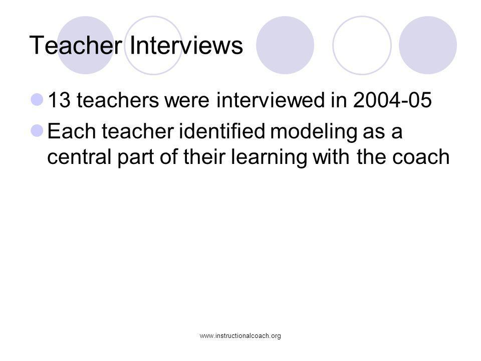 Teacher Interviews 13 teachers were interviewed in 2004-05