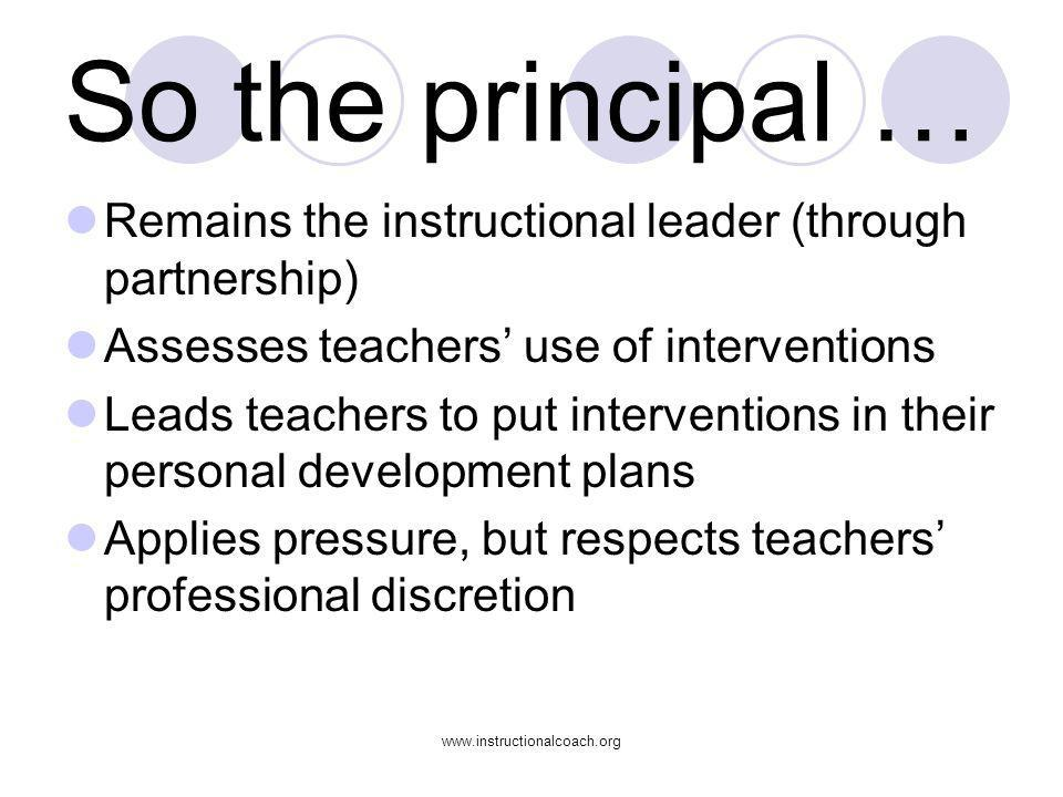 So the principal … Remains the instructional leader (through partnership) Assesses teachers' use of interventions.