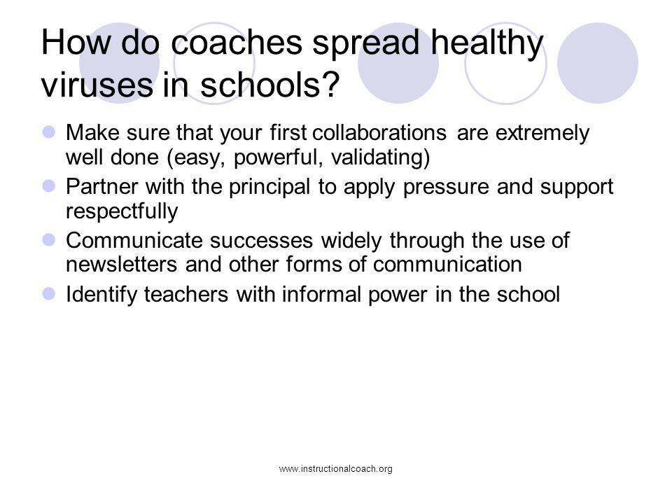 How do coaches spread healthy viruses in schools
