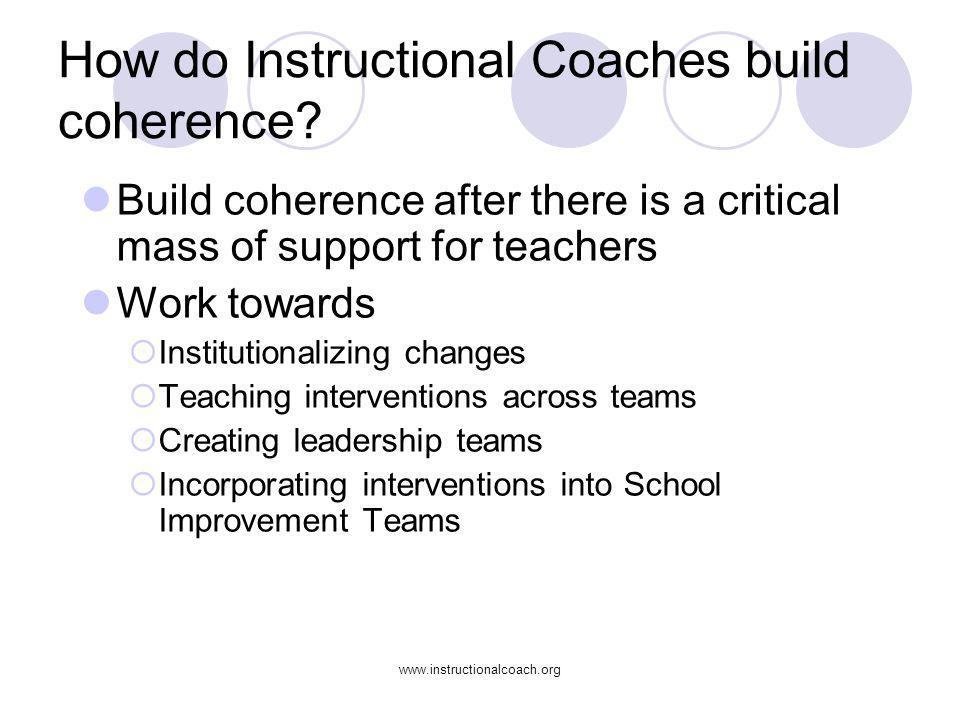 How do Instructional Coaches build coherence