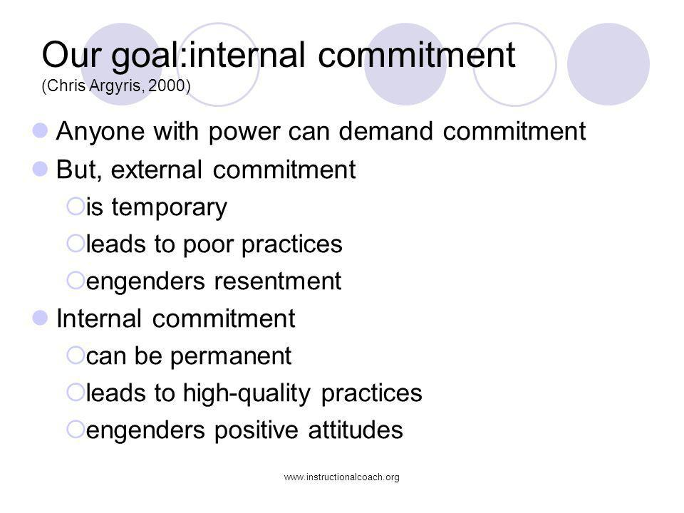 Our goal:internal commitment (Chris Argyris, 2000)