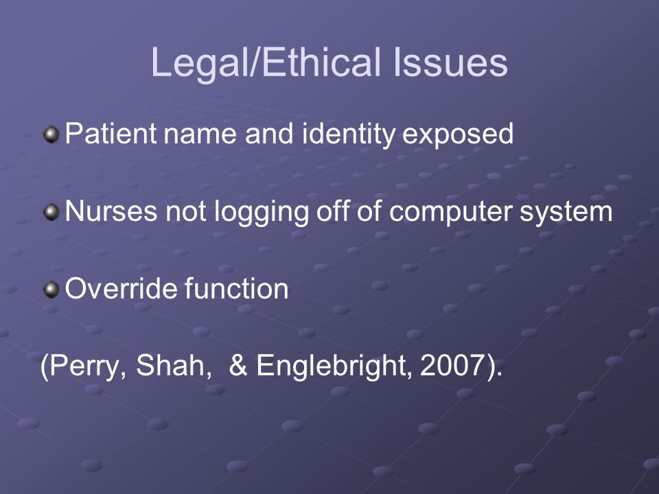 ethical issues in patient information The field of ethics studies principles of right and wrong there is hardly an area in medicine that doesn't have an ethical aspect for example, there are ethical issues relating to.