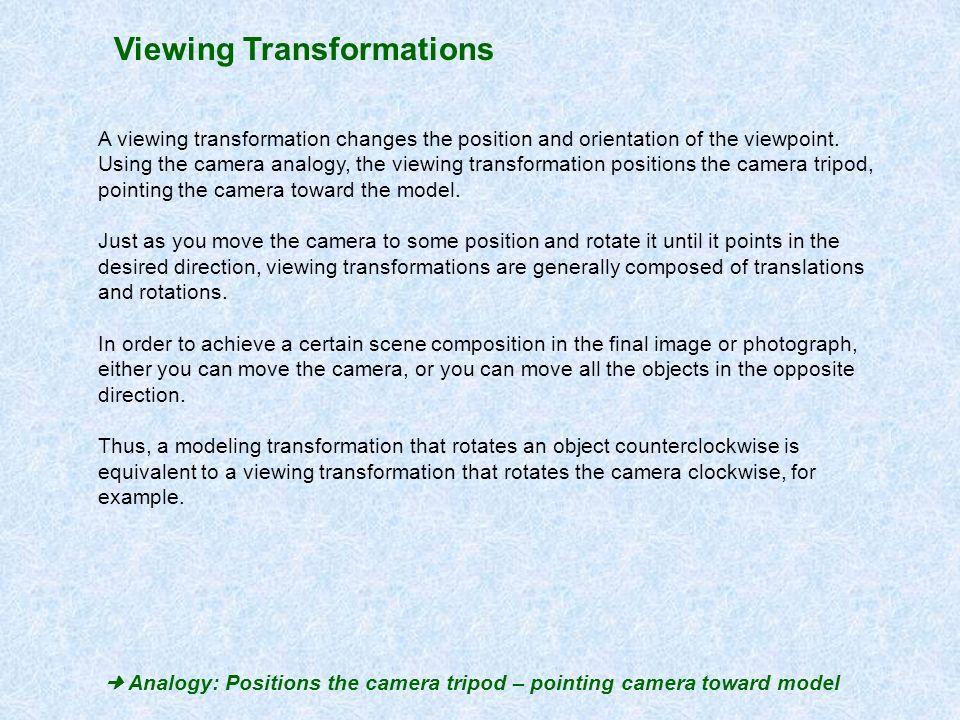  Analogy: Positions the camera tripod – pointing camera toward model