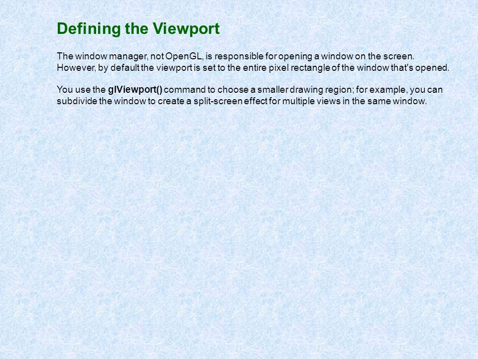 Defining the Viewport