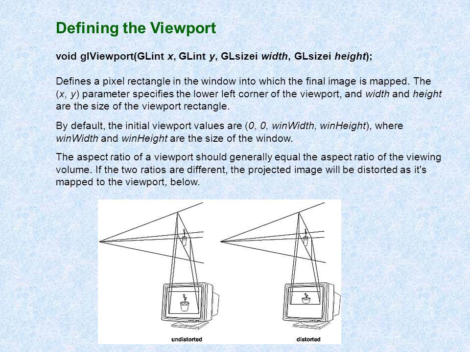 Defining the Viewport void glViewport(GLint x, GLint y, GLsizei width, GLsizei height);