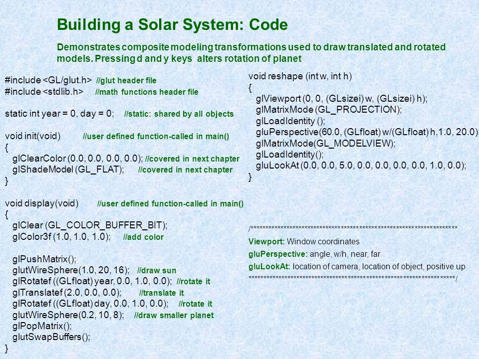 Building a Solar System: Code