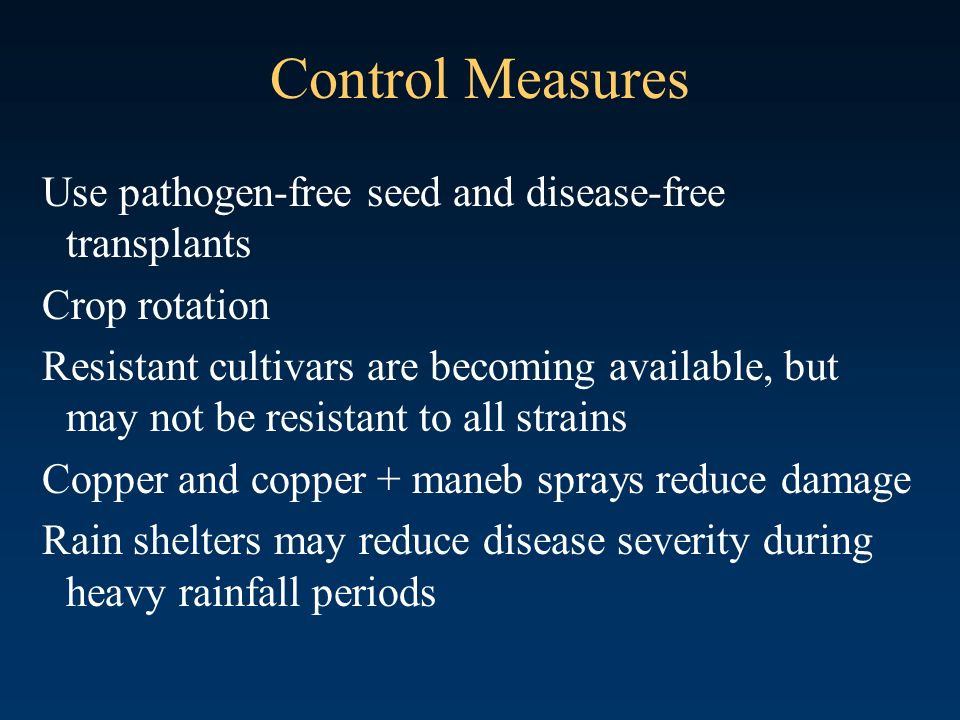 Control Measures Use pathogen-free seed and disease-free transplants