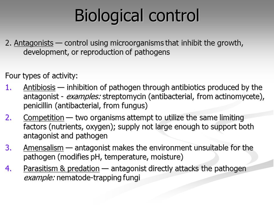 Biological control2. Antagonists — control using microorganisms that inhibit the growth, development, or reproduction of pathogens.