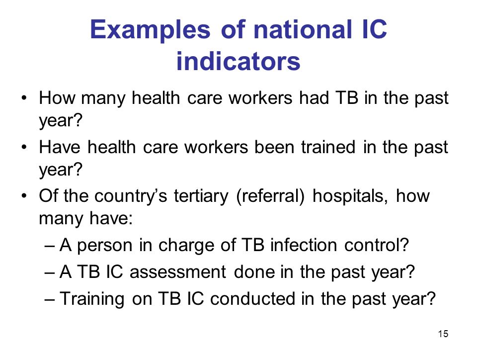 Examples of national IC indicators