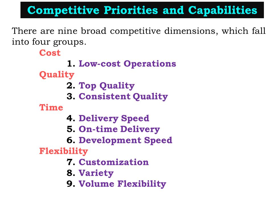 the nine competive priorties Identify competitive priorities of the operations function define productivity and identify productivity 24 chapter 2 operations strategy and competitiveness environmental scanning monitoring the external envi-ronment for changes and trends in the market, in the.