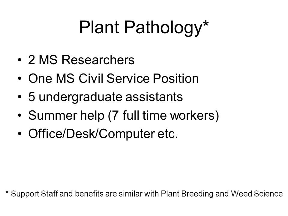 Plant Pathology* 2 MS Researchers One MS Civil Service Position