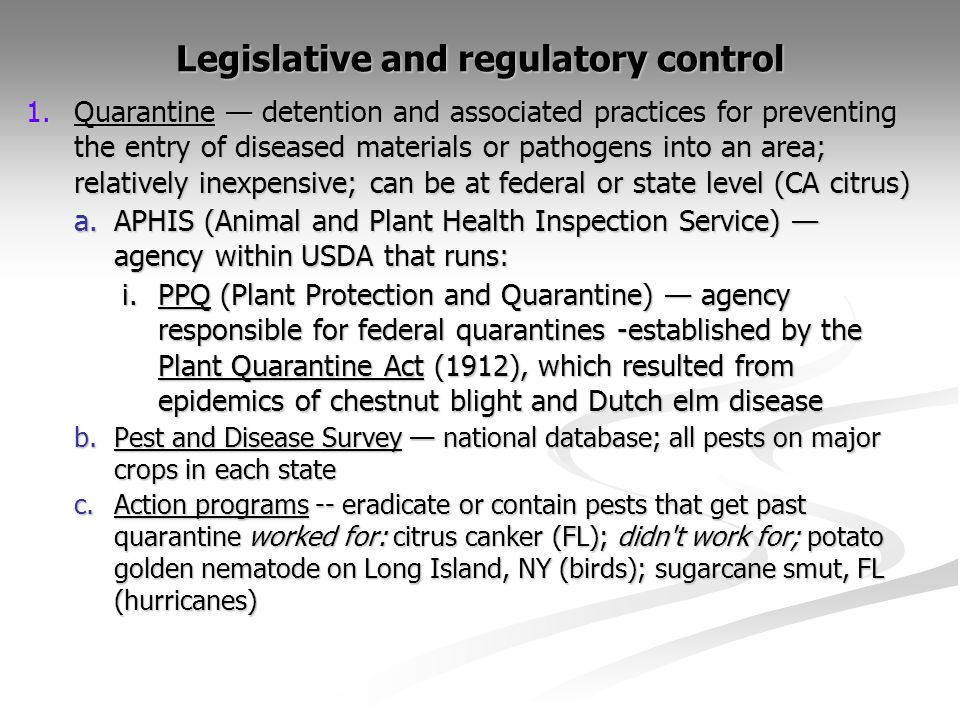 Legislative and regulatory control