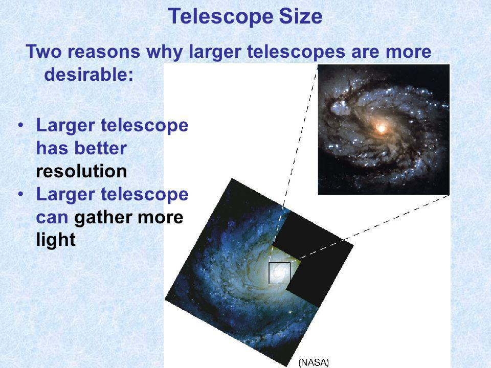 Telescope Size Two reasons why larger telescopes are more desirable: