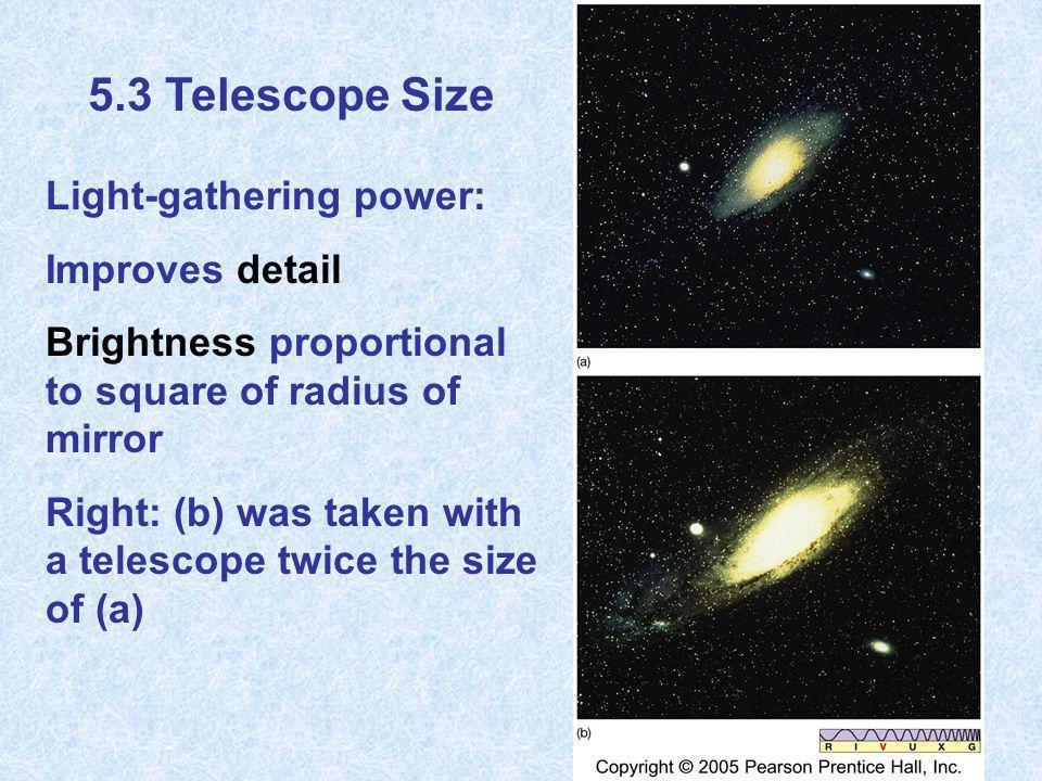 5.3 Telescope Size Light-gathering power: Improves detail