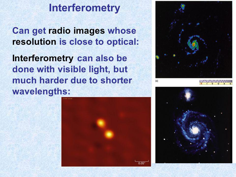 Interferometry Can get radio images whose resolution is close to optical: