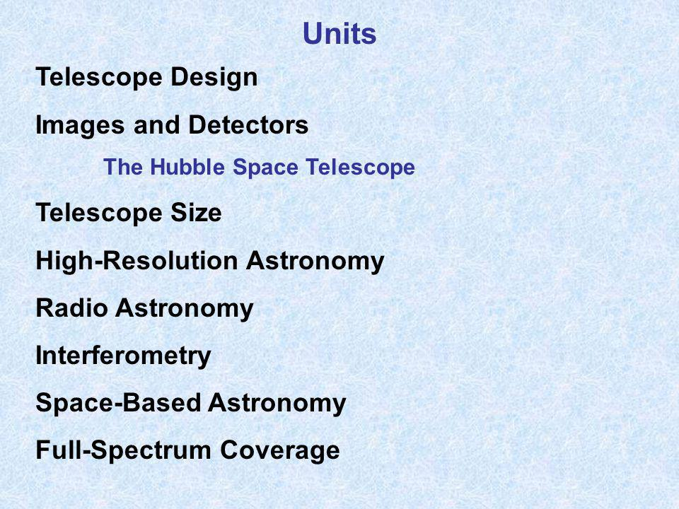 Units Telescope Design Images and Detectors Telescope Size