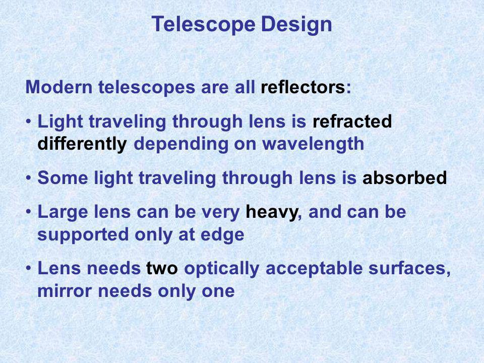 Telescope Design Modern telescopes are all reflectors: