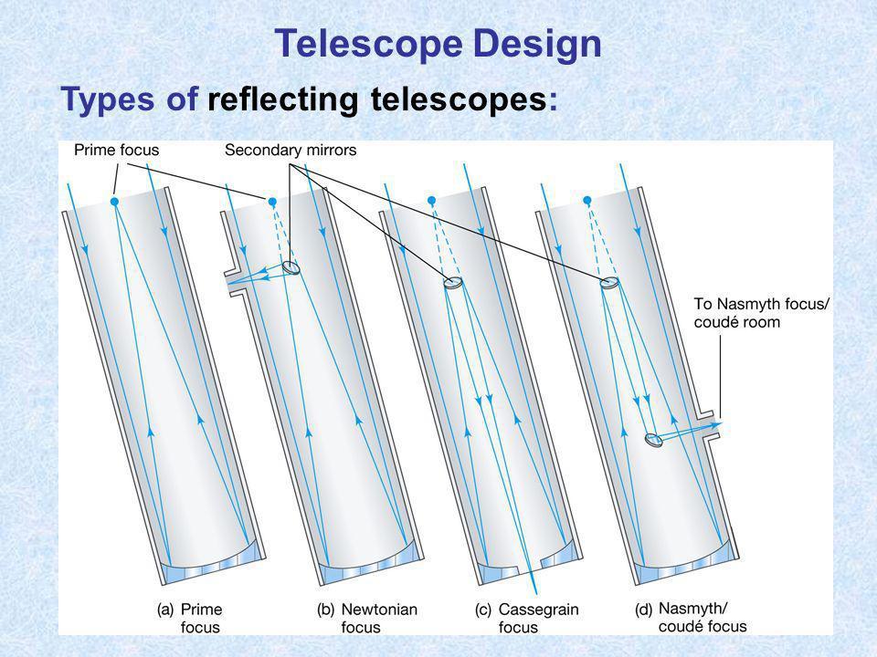 Telescope Design Types of reflecting telescopes: