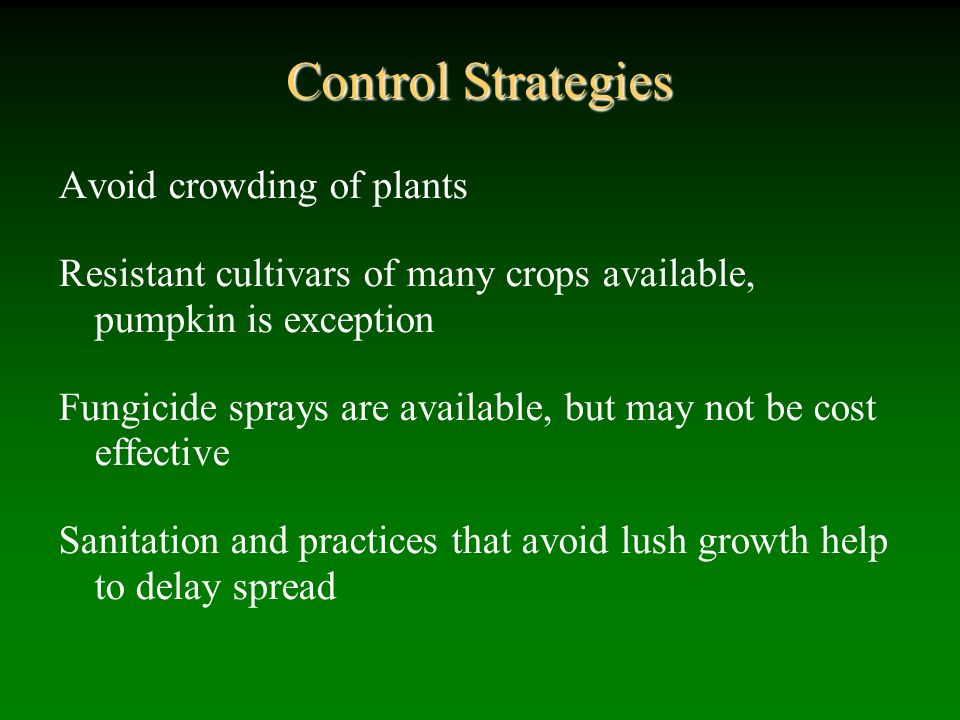Control Strategies Avoid crowding of plants
