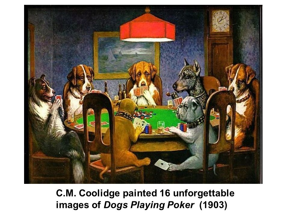 C.M. Coolidge painted 16 unforgettable images of Dogs Playing Poker (1903)