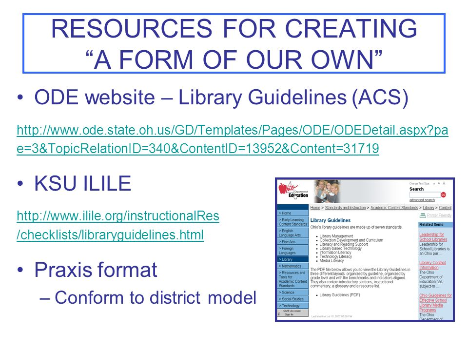 RESOURCES FOR CREATING A FORM OF OUR OWN
