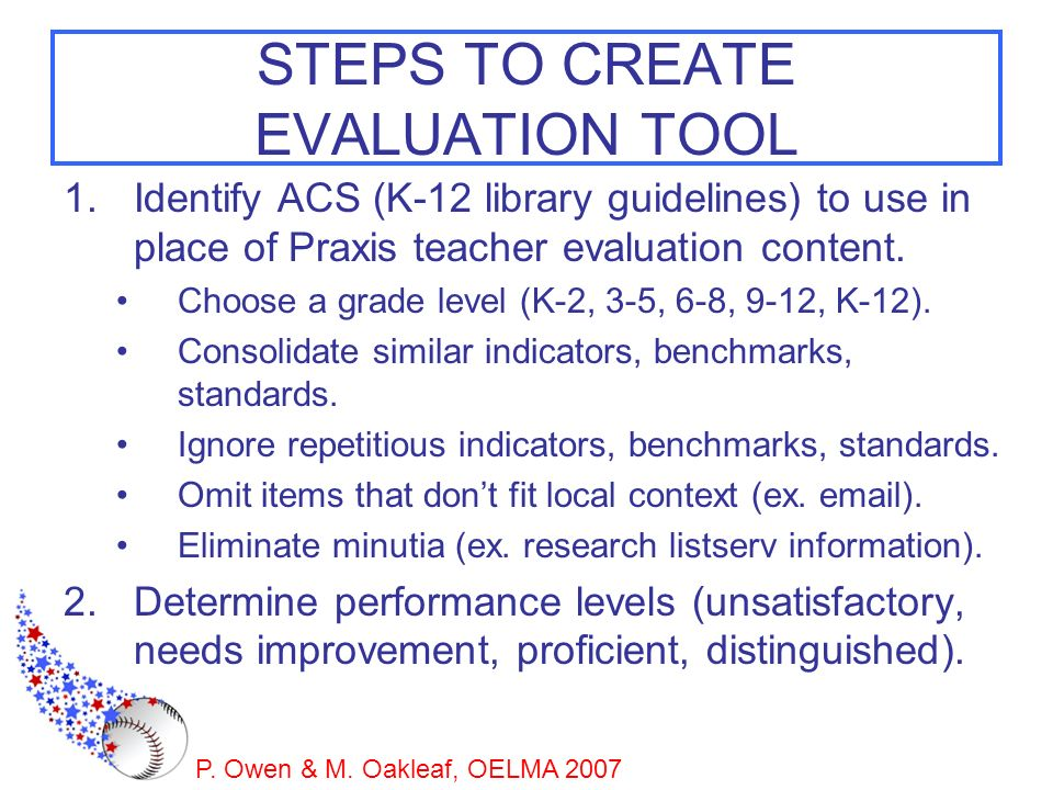 STEPS TO CREATE EVALUATION TOOL