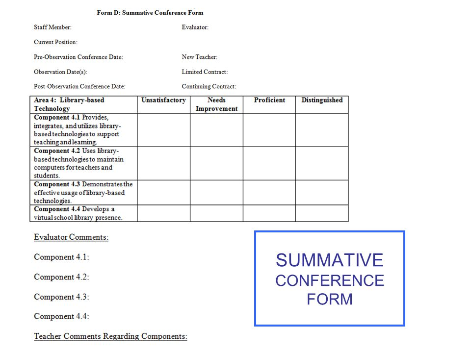 SUMMATIVE CONFERENCE FORM