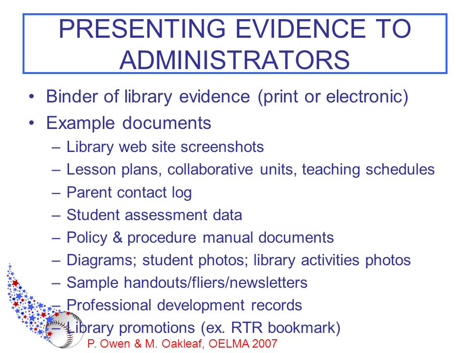 PRESENTING EVIDENCE TO ADMINISTRATORS