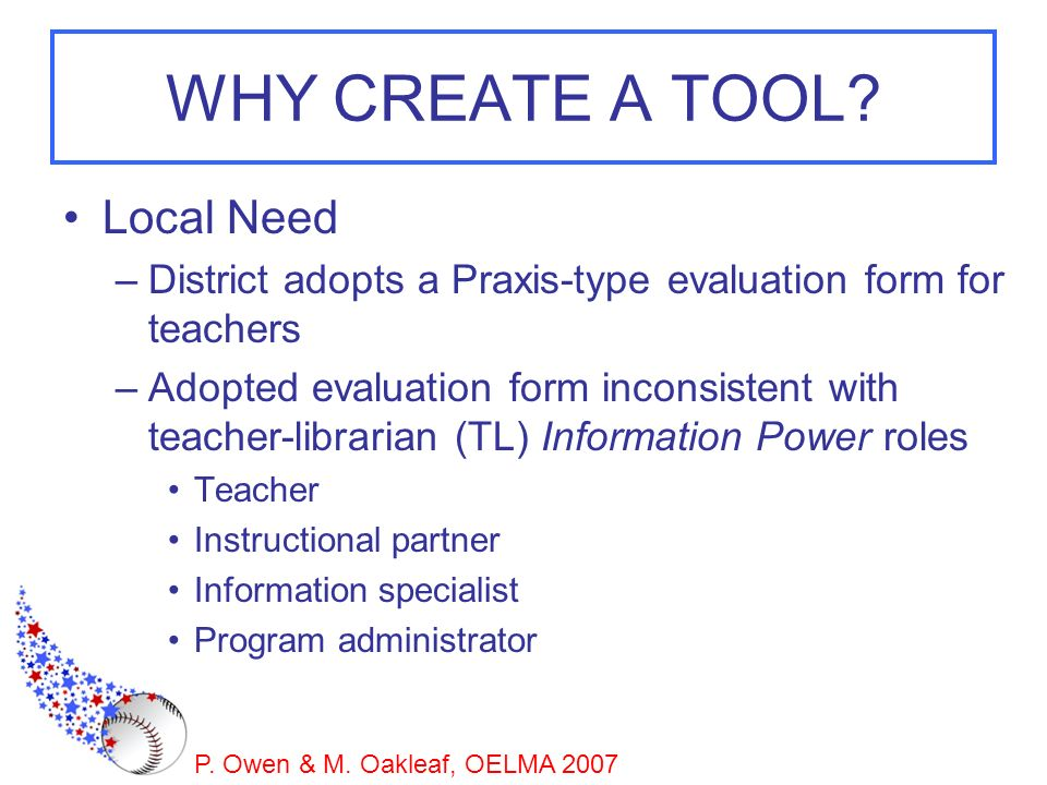 WHY CREATE A TOOL Local Need