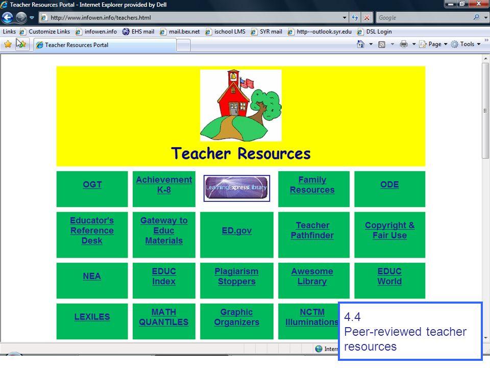 4.4 Peer-reviewed teacher resources