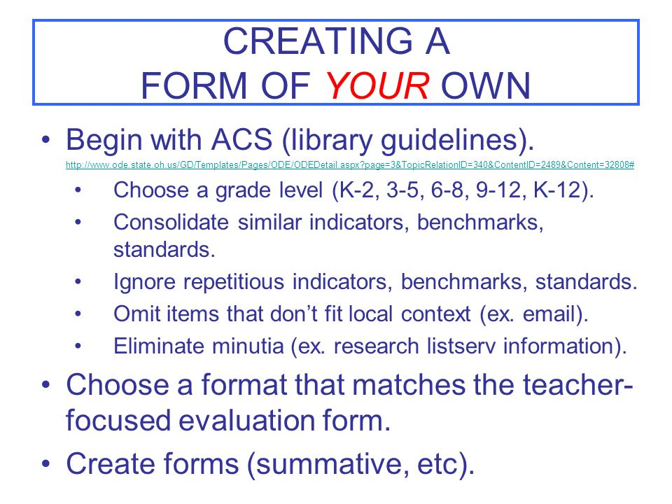 CREATING A FORM OF YOUR OWN