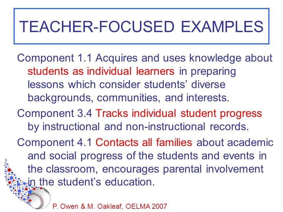 TEACHER-FOCUSED EXAMPLES