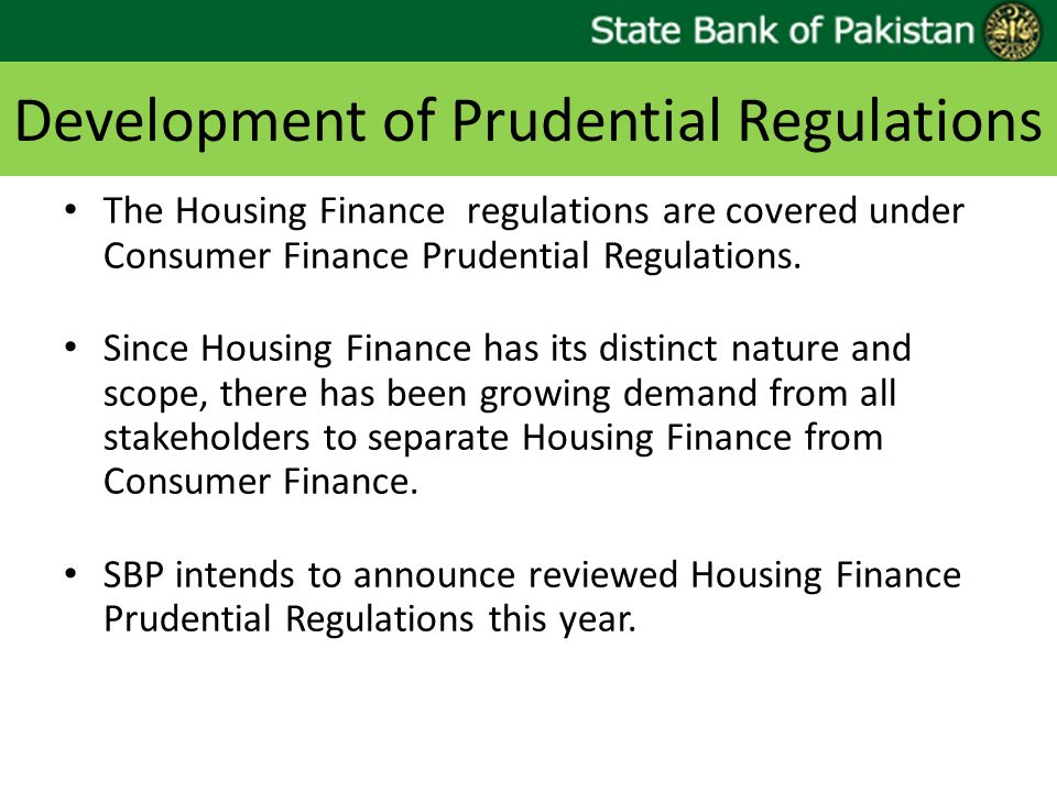 Development of Prudential Regulations