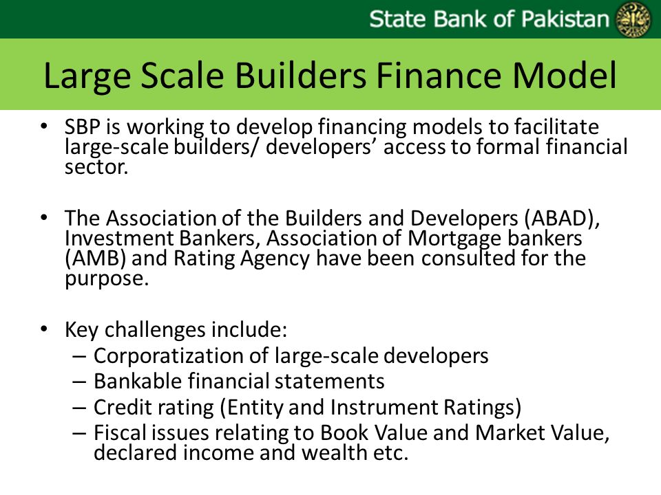 Large Scale Builders Finance Model