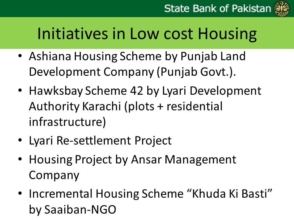 Initiatives in Low cost Housing