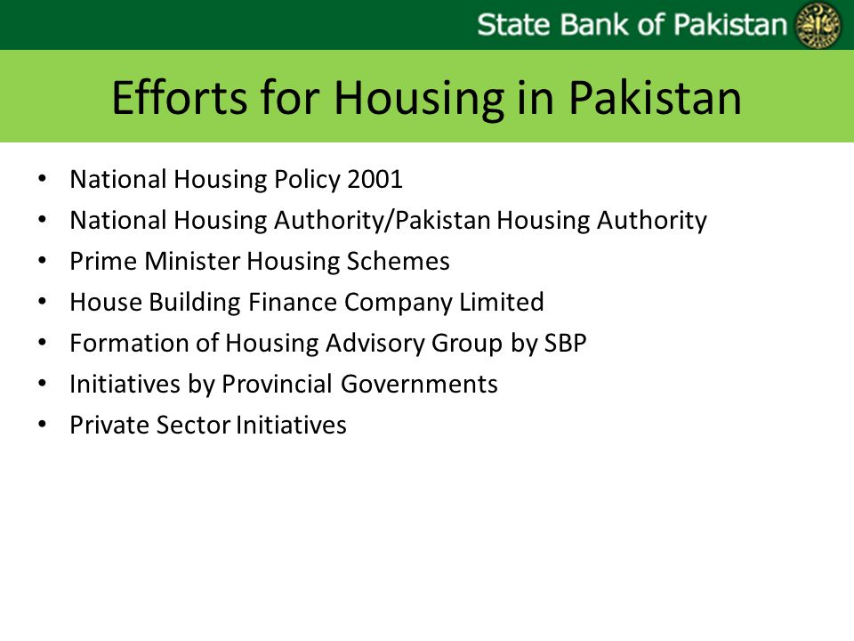 Efforts for Housing in Pakistan