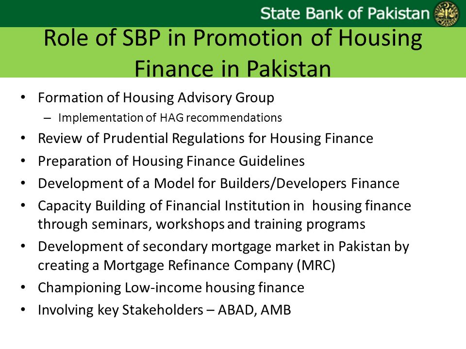 Role of SBP in Promotion of Housing Finance in Pakistan