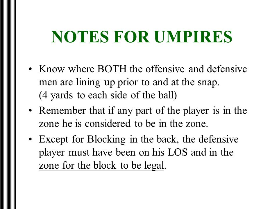 NOTES FOR UMPIRES
