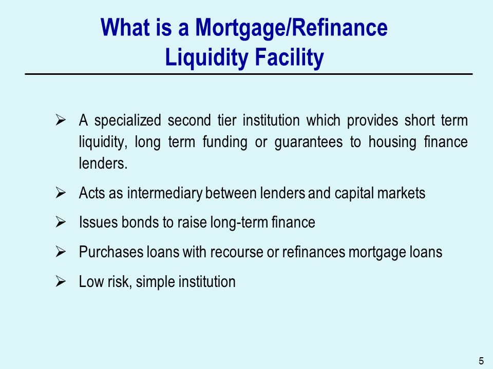 What is a Mortgage/Refinance Liquidity Facility