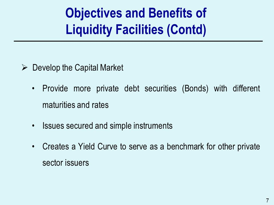 Objectives and Benefits of Liquidity Facilities (Contd)