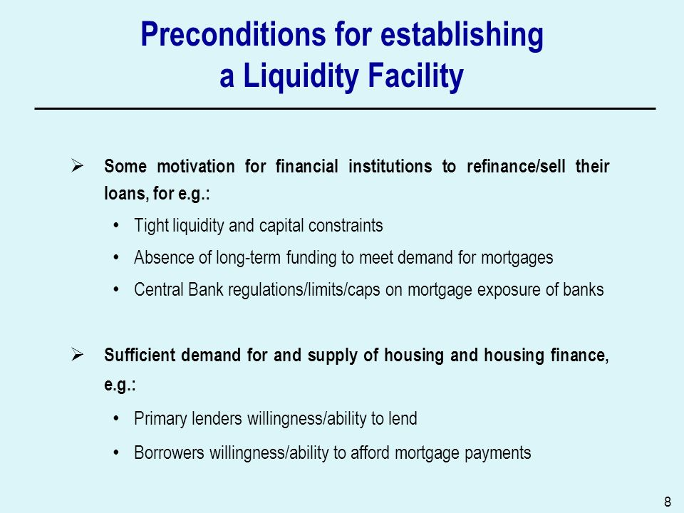 Preconditions for establishing a Liquidity Facility