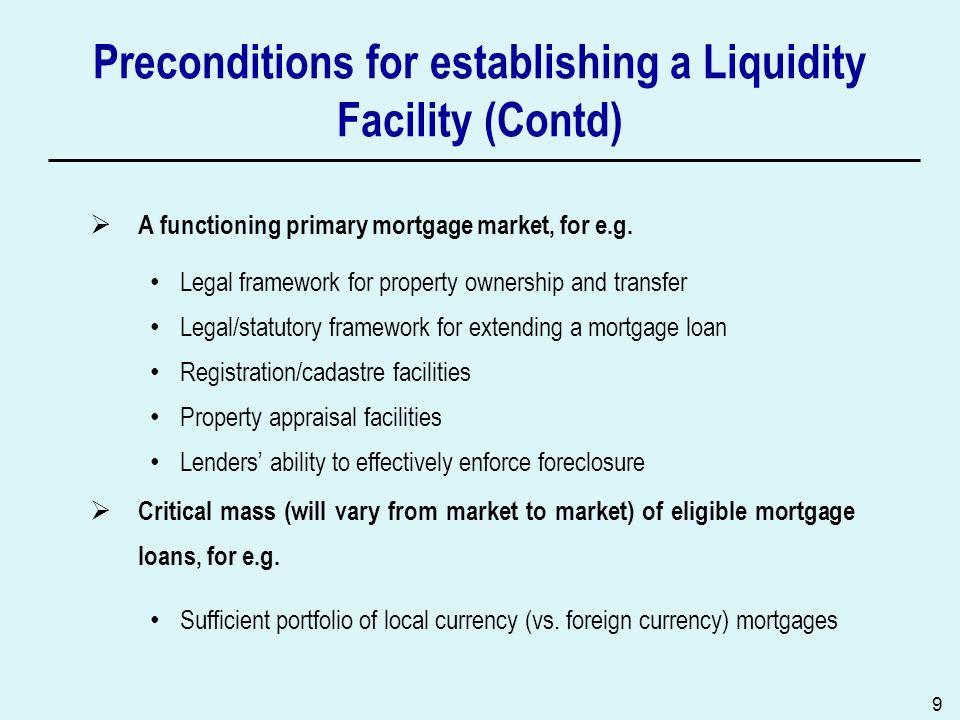 Preconditions for establishing a Liquidity Facility (Contd)