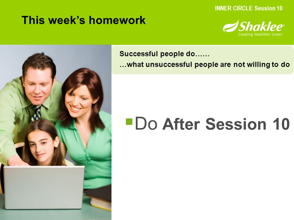 Do After Session 10 This week's homework Successful people do……