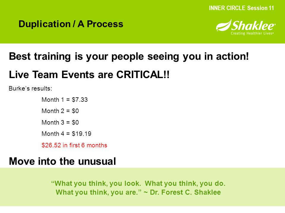 Best training is your people seeing you in action!